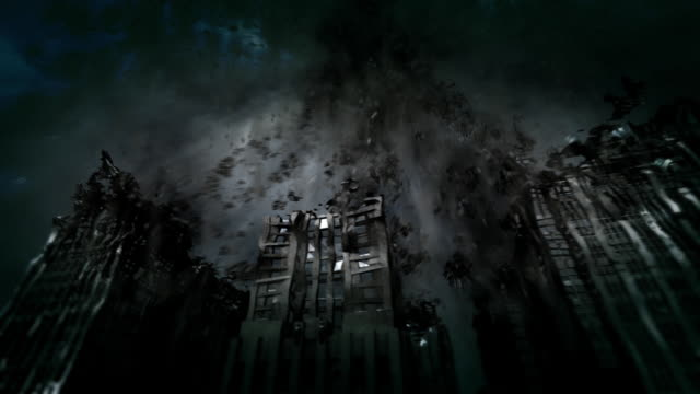 vidéos et rushes de a black hole sucks skyscrapers and eventually the planet into its event horizon. - imploding