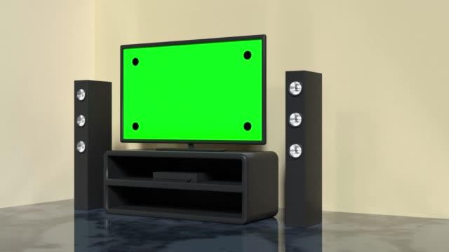 vídeos de stock e filmes b-roll de black home theater green screen television technology entertainment 3d rendering - modelo objeto