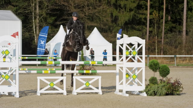 Black horse and it's rider jumping over obstacles in sunshine