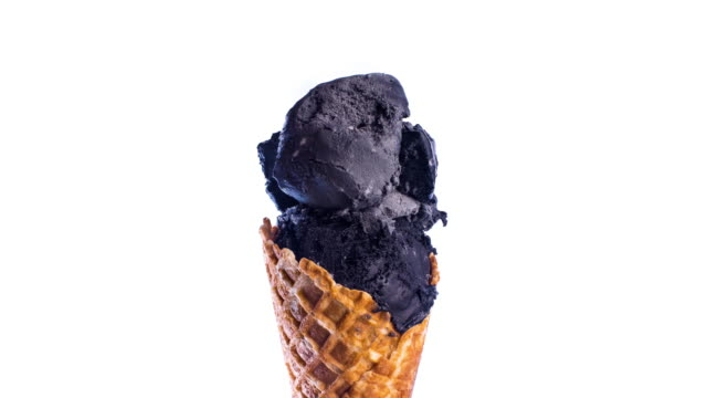 black ice-cream cone melting - ice cream cone stock videos & royalty-free footage