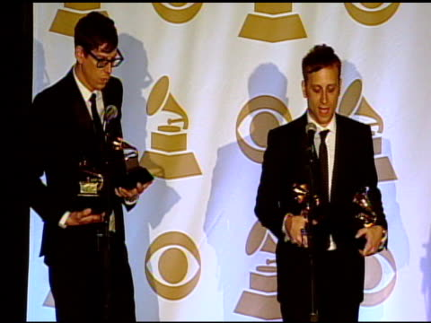 black keys on the grammy awards and their music at the 53rd grammy awards - press room at los angeles ca. - ブランド名点の映像素材/bロール