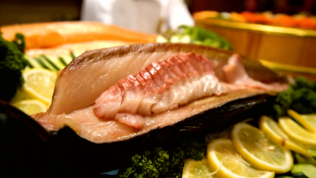 Black Kingfish sashimi display in japanese restaurant