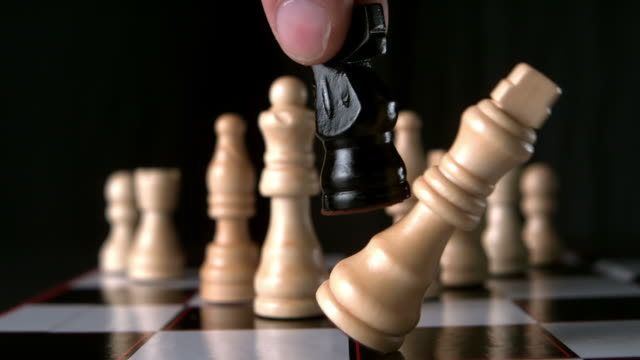 black knight taking white king - chess stock videos & royalty-free footage