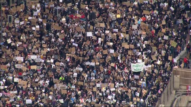 air views of protest outside us embassy; england: london: battersea/vauxhall: ext air view black lives matter protesters gathered in streets near to... - aerial view stock videos & royalty-free footage