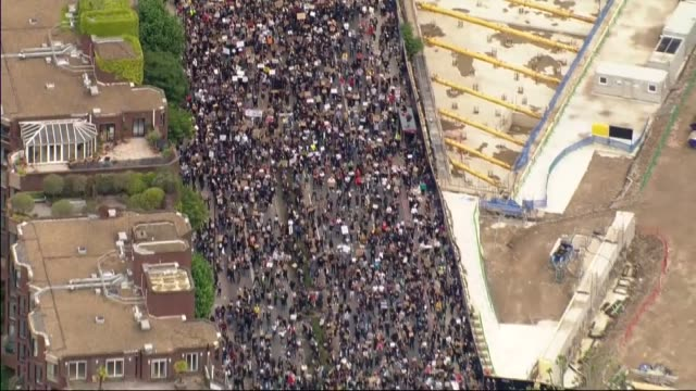 air views of protest outside us embassy; england: london: battersea/vauxhall: ext air view black lives matter protesters gathered in streets near to... - city stock videos & royalty-free footage