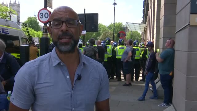 black lives matter counter-protests: boris johnson condemns violence against police as 'racist thuggery'; england: london: westminster: ext... - journalist stock videos & royalty-free footage