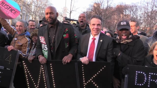 black lives matter hawk newsome joined by gov andrew cuomo march into riverside church for martin luther king jr service - andrew cuomo stock videos and b-roll footage