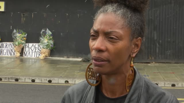 i can't breathe billboard / marcia rigg interview england london lambeth ext marcia rigg set up shots / interview sot / gvs i can't breathe billboard - i can't breathe stock videos & royalty-free footage