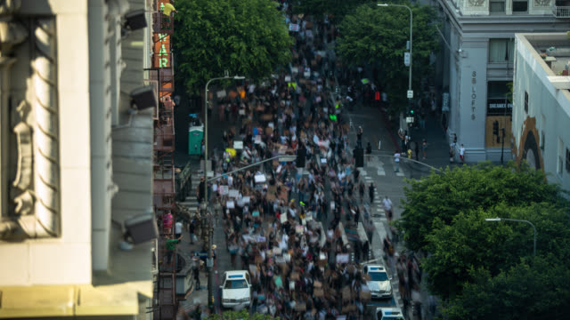 black lives matter march down spring st, los angeles - city life stock videos & royalty-free footage