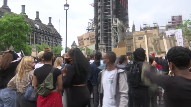 parliament square protest england london westminster ext various shots of black lives matter protesters gathered in parliament square wearing face... - street light stock videos & royalty-free footage