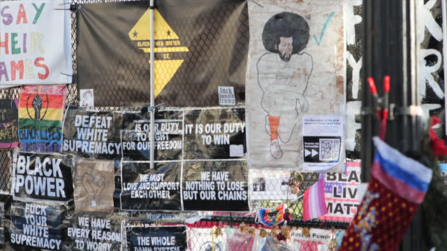 black lives matter plaza - pan round artwork posters graffiti protest outside the white house - political rally stock videos & royalty-free footage