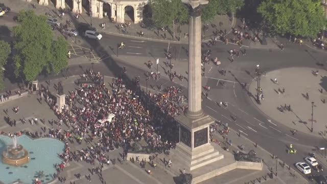 protest march through london air views england london westminster trafalgar square statue of nelson at top of nelson's column and black lives matter... - column stock videos & royalty-free footage