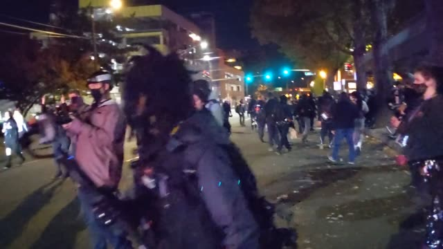 black lives matter protesters clash with right-wing activists and police on october 31, 2020 in vancouver, washington. dueling protests continued... - confrontation stock videos & royalty-free footage