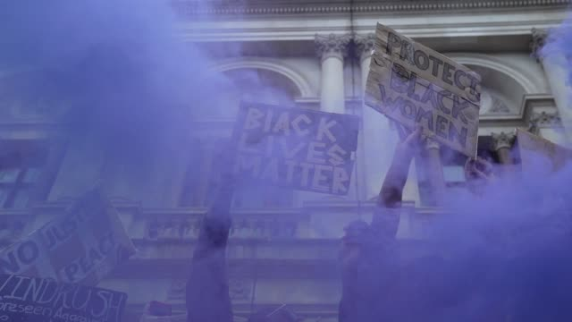 black lives matter protesters let of a flare outside downing street in london on june 7 2020 in london united kingdom the death of an africanamerican... - demonstration stock videos & royalty-free footage
