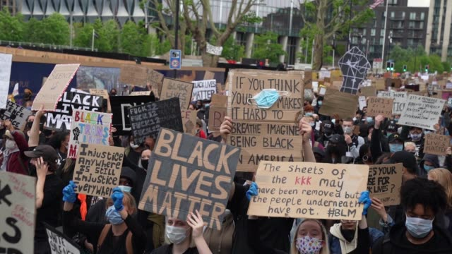 black lives matter protesters march towards parliament in london on june 7, 2020 in london, united kingdom. the death of an african-american man,... - slow motion stock videos & royalty-free footage