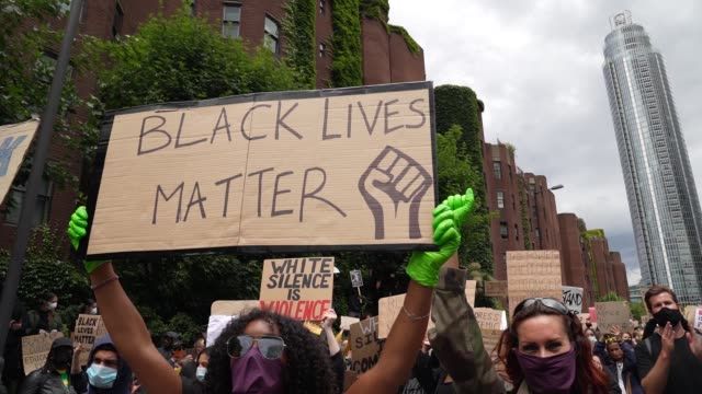 black lives matter protesters protest in london on june 7, 2020 in london, united kingdom. the death of an african-american man, george floyd, while... - protest stock videos & royalty-free footage