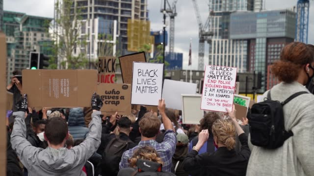 black lives matter protesters take a knee in london on june 7, 2020 in london, united kingdom. the death of an african-american man, george floyd,... - limb body part stock videos & royalty-free footage
