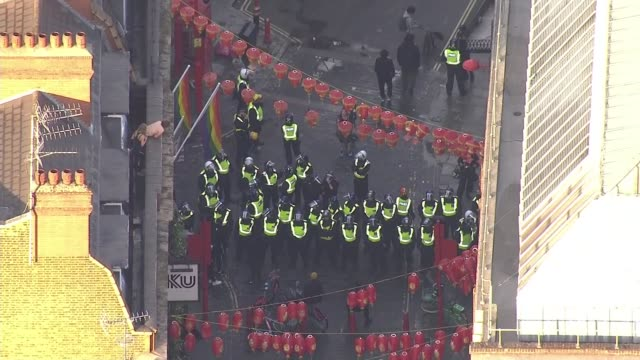 black lives matter protests: air views of protesters and police; england: london: ext air views / aerials police officers and mounted police officers... - small stock videos & royalty-free footage