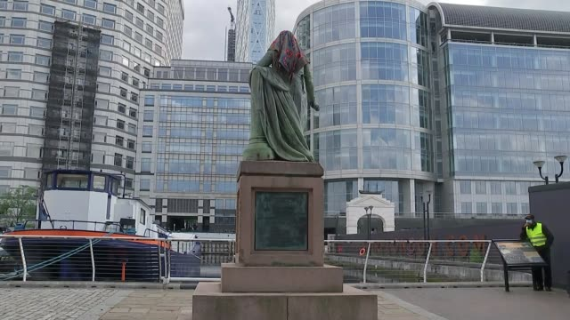 statue of robert milligan in east london to be removed; england: east london: docklands: ext statue of robert milligan outside museum of london... - london docklands stock videos & royalty-free footage