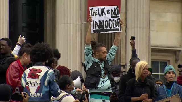 statues boarded up and events cancelled over farright concerns england london trafalgar square ext black lives matter protesters gathered at foot of... - column stock videos & royalty-free footage