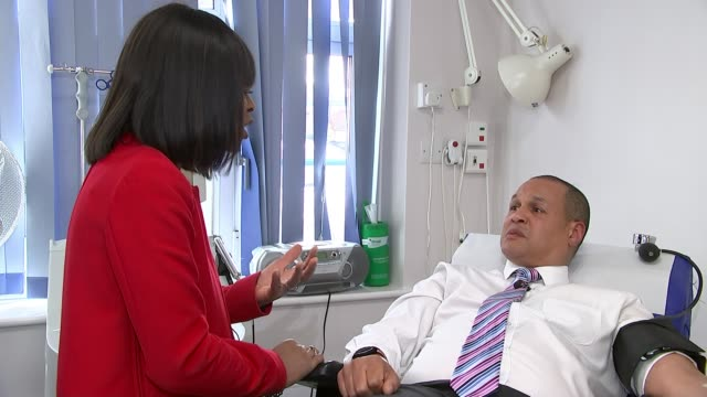 black man donates 133rd unit of blood to tackle minority donation shortages uk london blood donation gvs / lloyd simmonds interview london int... - men stock videos & royalty-free footage