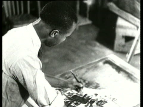 b/w black man painting on easel / sound - artist stock videos & royalty-free footage