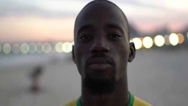 black man portrait in the beach - completely bald stock videos & royalty-free footage
