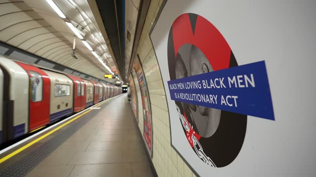 """black men loving black men is a revolutionary act"""" by marc thompson, activist, director of the love tank at brixton london underground station at tfl... - business finance and industry stock videos & royalty-free footage"""