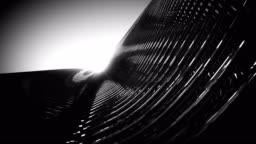 Black Metallic Architecture Fassade of Futuristic Skyscraper 3D Rendered Video Animation.