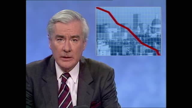 news at ten pab; england: london: itn studio: int alastair burnet announces stock market crash sot graphic dow jones / ftse index alastair burnet to... - alastair burnet stock videos & royalty-free footage