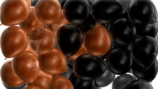 black & orange balloons fill up the screen - balloon stock videos & royalty-free footage