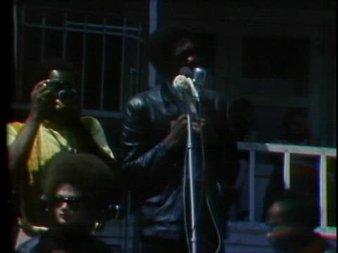 black panther bobby seale delivers a defiant statement on behalf of the panthers - gun stock videos & royalty-free footage