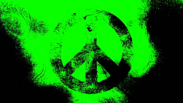 Black peace symbol on a high contrasted grungy and dirty, animated,distressed and smudged 4k video green alpha background with swirls and frame by frame motion feel with street style for the concepts of peace, world peace, no war, protest, and tranquility