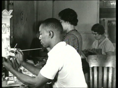 b/w black people painting in studio / sound - wpa stock videos & royalty-free footage