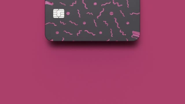 vídeos y material grabado en eventos de stock de negro rosa tarjeta de pago empresarial concepto abstracto movimiento 3d renderizado - tarjeta de crédito