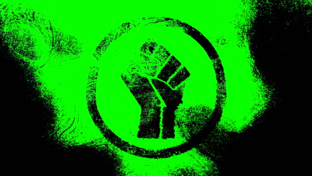 black raised fist symbol on a high contrasted grungy and dirty, animated, distressed and smudged 4k video background with swirls and frame by frame motion feel with street style for the concepts of solidarity,support,human rights,worker rights,strength - smudged stock videos & royalty-free footage
