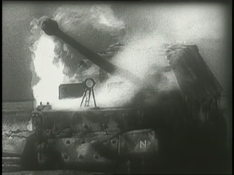 black smoke billows above burning german tanks on a battlefield. - ruhr stock videos & royalty-free footage