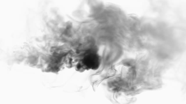 black smoke on white - smoke physical structure stock videos & royalty-free footage