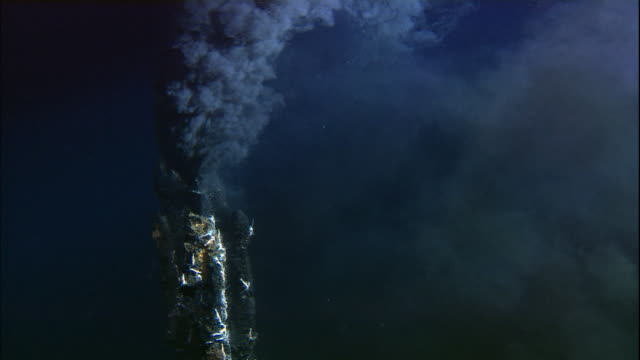 Black smoker deep sea vent rises from ocean floor, Mid Atlantic Ridge