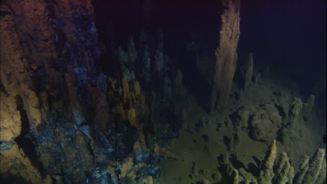 black smoker deep sea vents rise from ocean floor, mid atlantic ridge - deep stock videos & royalty-free footage