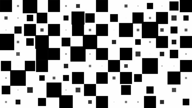 chessboard pattern : black squares, chaotic progress, finally disappear (transition) - square stock videos and b-roll footage