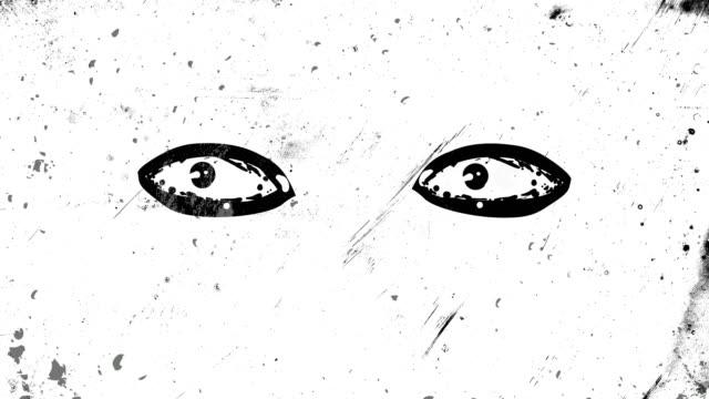 開閉している2つの目のフレームアニメーションによるブラックストップモーションとフレームは、高コントラストのグランジと汚れ、アニメーション、苦悩と汚れた4kループ可能なビデオ背� - 壁画点の映像素材/bロール