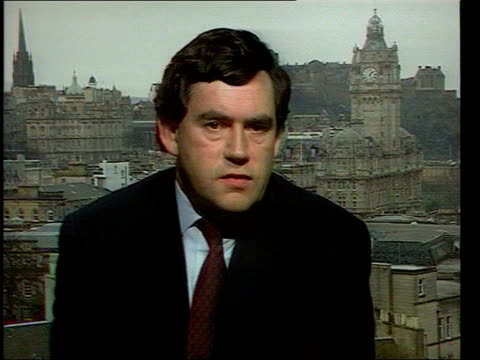 black wednesday documents row date gordon brown mp interview sot there is no policy for devaluation on behalf of the labour party - devaluation stock videos and b-roll footage