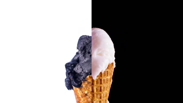 black & white ice-cream cone melting - waffled stock videos and b-roll footage