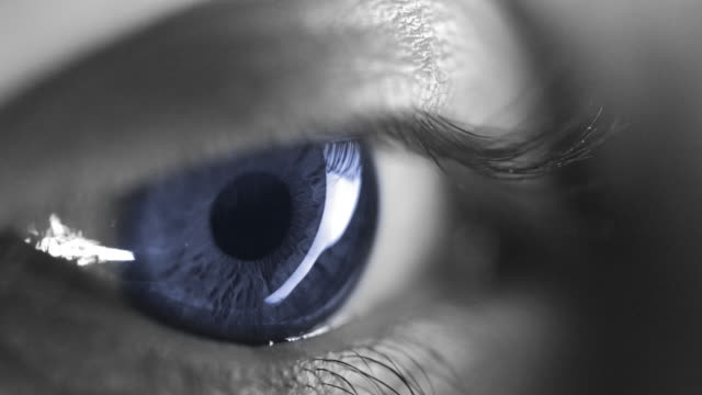 4k - black & white with blue coloured iris - blinking stock videos and b-roll footage