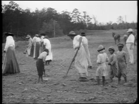 stockvideo's en b-roll-footage met b/w 1920 pan black women + children hoeing field / southern us / documentary - 1920