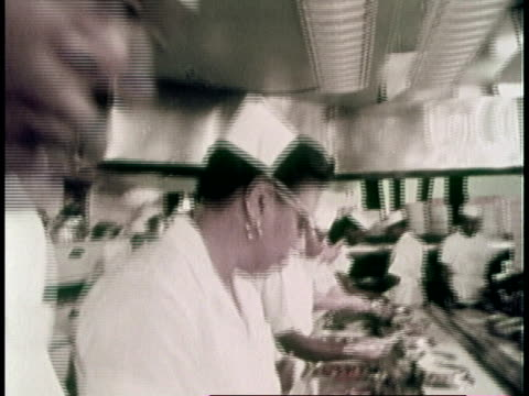 1970 montage black workers working in restaurant kitchen / united states - 1970 stock videos & royalty-free footage
