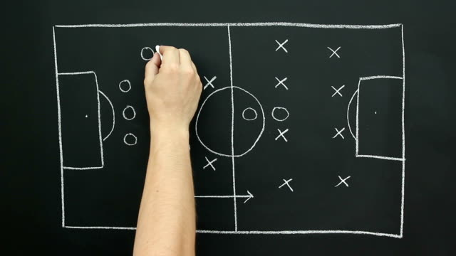 stockvideo's en b-roll-footage met blackboard strategy gameplan for soccer / football tactics - trainer