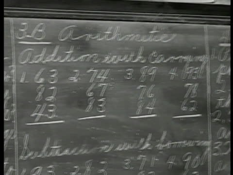 Blackboard w/ 'Reading Arithmetic' MS Female teacher sitting down at desk MS Female principle in office at desk CU Clerical work papers Virginia