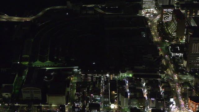 aerial, blackd-out closed tsukiji market, tokyo, japan - tokyo bay stock videos & royalty-free footage